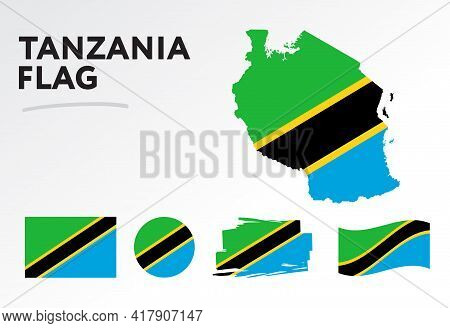 Various Designs Of The Tanzania Flag And Map. World Flags. Vector Set. Circle Icon. Brush Stroke. Te