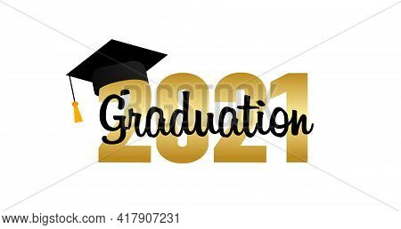 Graduation 2021. Graduation Cap. Template Design Elements. Graduation Logo. Vector