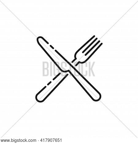 Cutlery Icon. Set Of Fork, Knife, Spoon. Tableware Icon. Logotype Menu. Set In Flat Style. Silhouett
