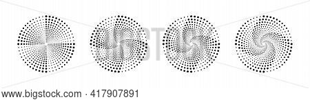 Halftone Vortex. Halftone. Dotted Background. Set Of Halftone Vortexs. Vector Illustration