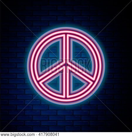 Glowing Neon Line Peace Icon Isolated On Brick Wall Background. Hippie Symbol Of Peace. Colorful Out