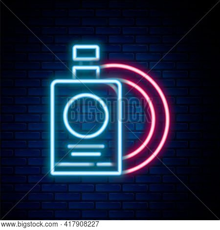 Glowing Neon Line Dishwashing Liquid Bottle And Plate Icon Isolated On Brick Wall Background. Liquid