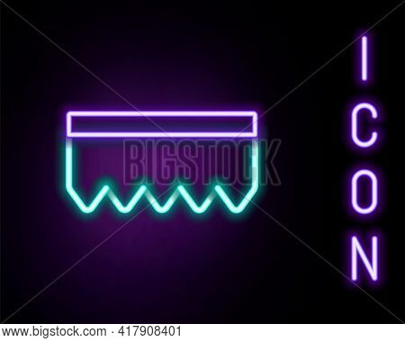 Glowing Neon Line Sponge With Bubbles Icon Isolated On Black Background. Wisp Of Bast For Washing Di