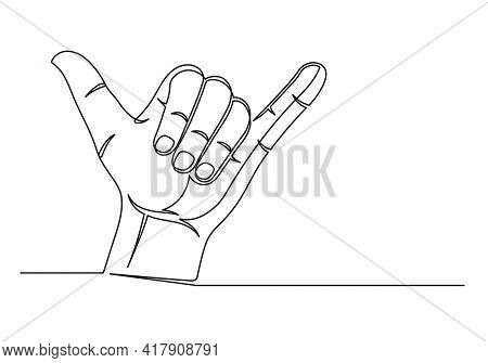 Continuous One Line Drawing Of An Surfer Hand. Shaka Symbol. Surfer Hand Isolated On A White Backgro