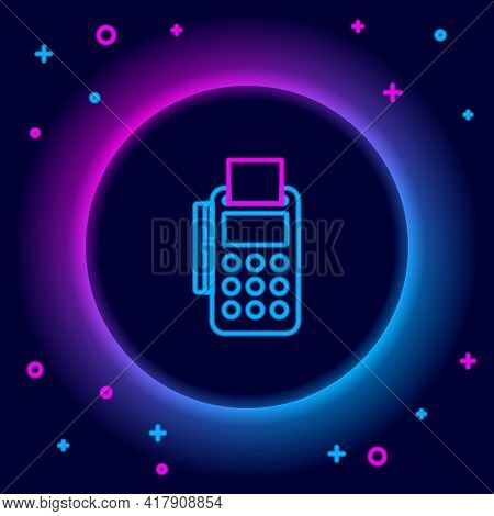 Glowing Neon Line Pos Terminal With Inserted Credit Card And Printed Reciept Icon Isolated On Black