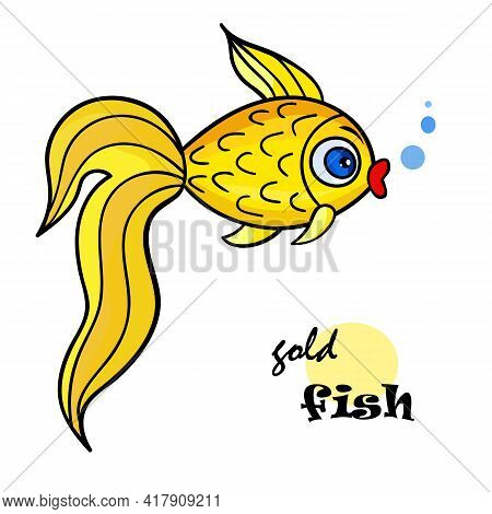 One Bright Goldfish With Bubble.isolated On A White Background. Beautiful Funny Cartoon Character.cu