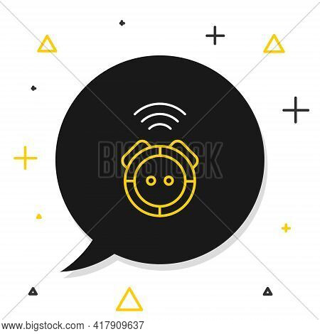Line Robot Vacuum Cleaner Icon Isolated On White Background. Home Smart Appliance For Automatic Vacu