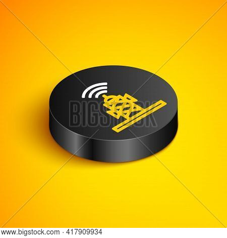 Isometric Line Wireless Antenna Icon Isolated On Yellow Background. Technology And Network Signal Ra