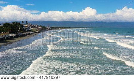 The Coast With Hotels And Tourists, A Famous Place For Surfing In The Philippines, Top View. Secret