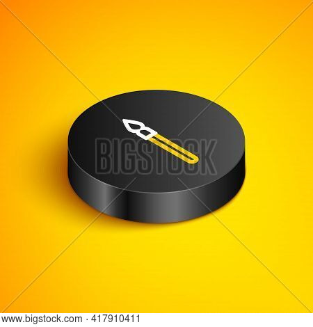 Isometric Line Medieval Spear Icon Isolated On Yellow Background. Medieval Weapon. Black Circle Butt
