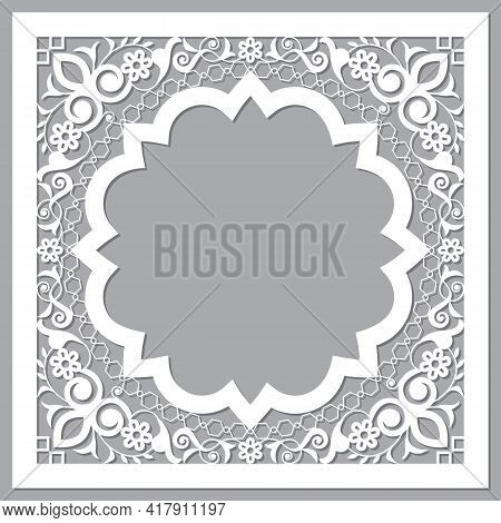 Moroccan Carved Style Openwork Vector Arabic Frame Or Border Design With Flowers And Leaves - Perfec