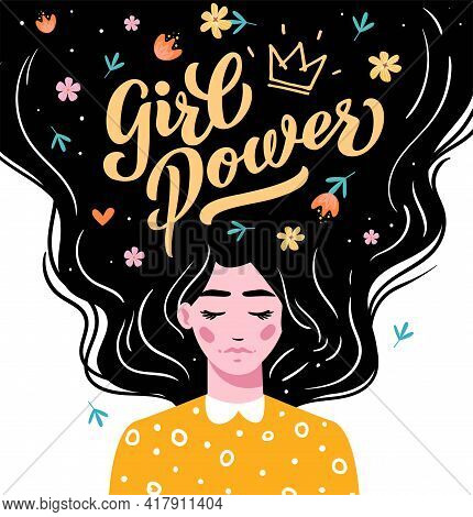 Girl Power. Vector Lettering. Girl With Long Hair With Text. Hand Drawn Long Hair Beautiful Girl. Mo