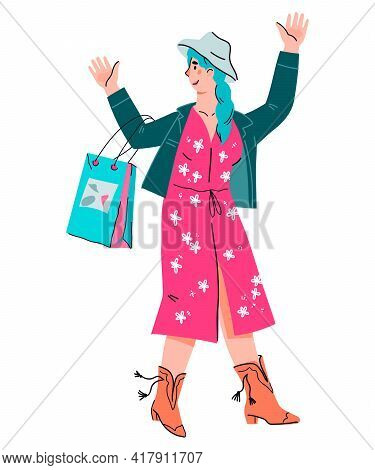 Pretty Cheerful Young Woman With Shopping Bags, Cartoon Vector Illustration Isolated On White. Happy
