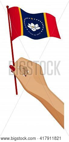 Female Hand Gently Holds Small Flag Of American State Of Mississippi. Holiday Design Element. Cartoo