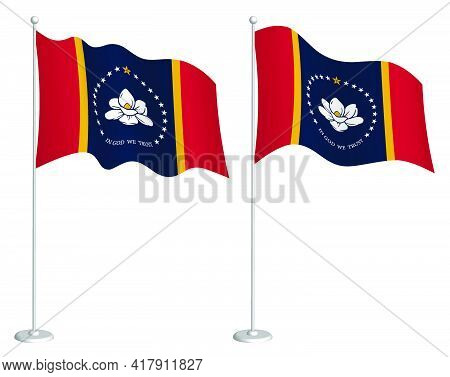 Flag Of American State Of Mississippi On Flagpole Waving In Wind. Holiday Design Element. Checkpoint