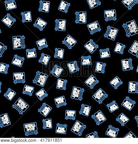 Line Hanging Sign With Text For Rent Icon Isolated Seamless Pattern On Black Background. Signboard W