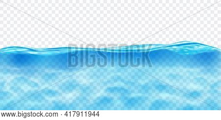 Translucent Water In Light Blue Colors With Caustics Ripple, Isolated On Transparent Background. Tra