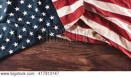 Happy Memorial Day Concept Made From Vintage American Flag On Old Wooden Background.