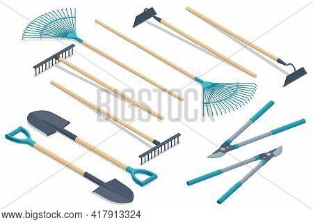 Isometric Set Of Garden Tools. Rake, Pruner, Shovel, Boot, Pitchfork, Cutter, Isolated On White Back