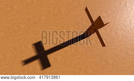 Concept or conceptual clay christian cross on an argil background. 3d illustration metaphor for God, Christ, Christianity, religious, faith, holy, spiritual, Jesus, belief or resurection