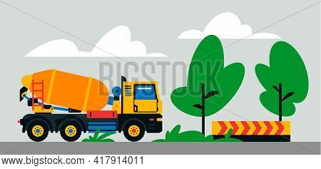 Construction Machinery Works At The Site. Construction Machinery, Concrete Mixer On The Background O