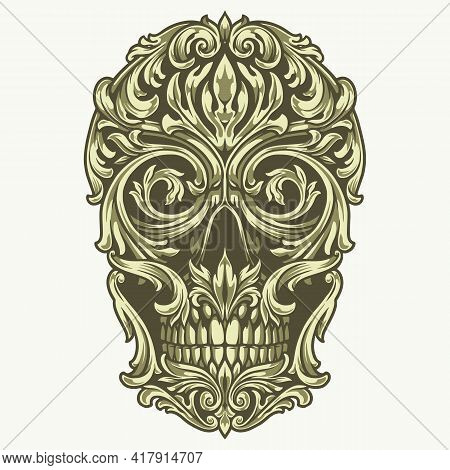 Green Skull Of Traceries On Dollar Banknote In Vintage Style Isolated Vector Illustration
