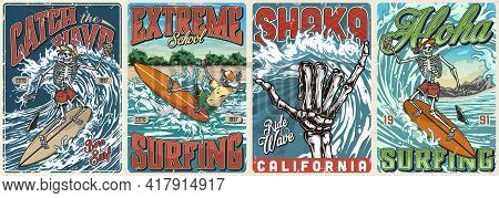 Extreme Surfing Vintage Colorful Posters With Skeleton Surfers In Baseball Caps And Shorts Riding Wa