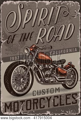 Custom Motorcycle Colorful Vintage Poster With Letterings And Classic Motorbike Vector Illustration