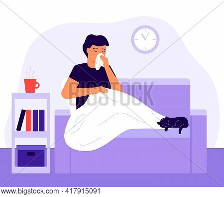 Sick Man With High Fever And Feel Allergy Sitting Under Blanket On Couch At Home. Male With Infectio