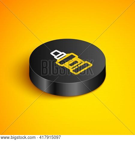 Isometric Line Mouthwash Plastic Bottle And Glass Icon Isolated On Yellow Background. Liquid For Rin