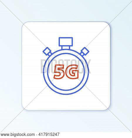 Line Digital Speed Meter Concept With 5g Icon Isolated On White Background. Global Network High Spee