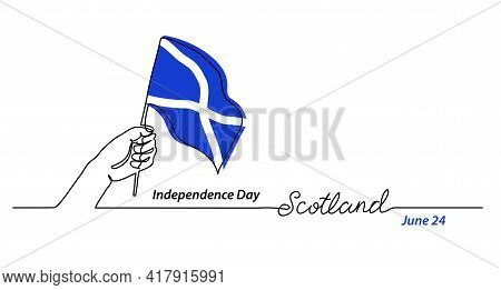 Scotland Flag With Hand. Independence Day Vector Banner, Background, Poster. One Continuous Line Dra