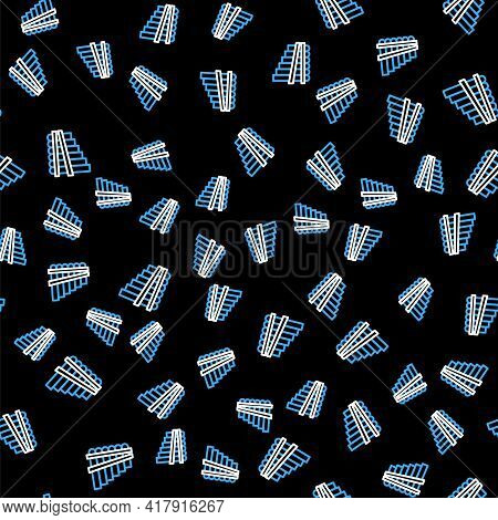 Line Pan Flute Icon Isolated Seamless Pattern On Black Background. Traditional Peruvian Musical Inst