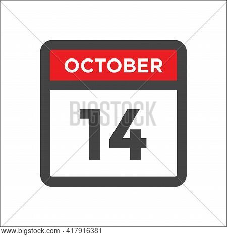 October 14 Calendar Icon - Day Of Month