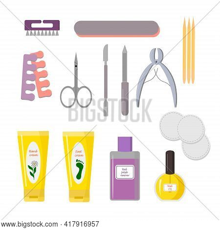 Set Of Tools For Manicure. Nail Files, Hand And Foot Cream, Oil And Nail Polish Remover. For Use In