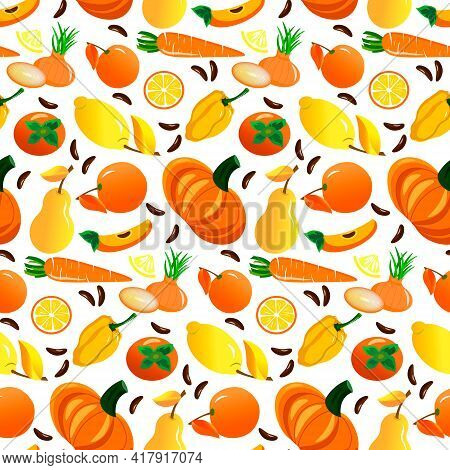 Pattern With Yellow And Orange Vegetables And Fruits. Pepper And Pumpkin, Lemon , Onion, Persimmon.