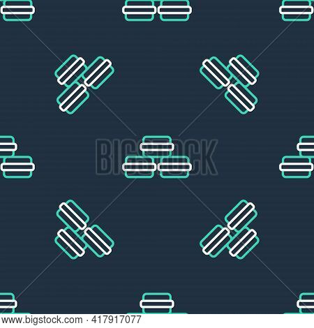 Line Macaron Cookie Icon Isolated Seamless Pattern On Black Background. Macaroon Sweet Bakery. Vecto
