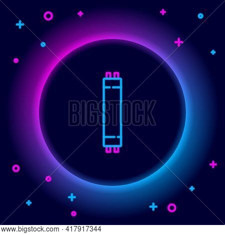 Glowing Neon Line Long Luminescence Fluorescent Energy Saving Lamp Icon Isolated On Black Background