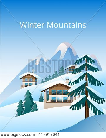 Beautiful Mountain Landscape In Delicate Shades. Image Of An Alpine Chalet On The Background Of A Mo