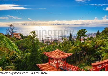View Over The City Of Funchal From Monte Palace Gardens In Madeira, Portugal