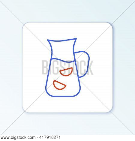 Line Sangria Icon Isolated On White Background. Traditional Spanish Drink. Colorful Outline Concept.