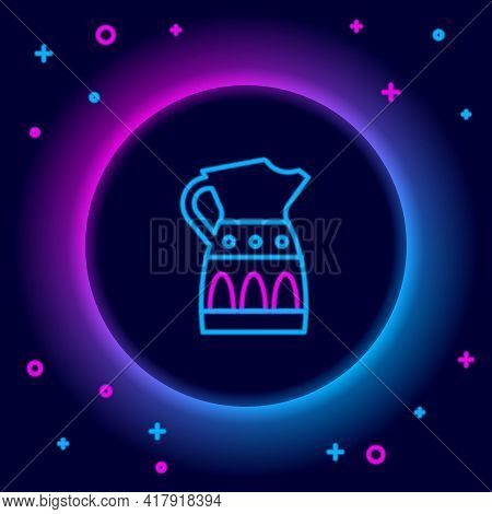 Glowing Neon Line Sangria Pitcher Icon Isolated On Black Background. Traditional Spanish Drink. Colo
