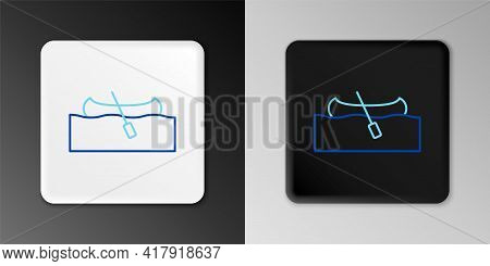 Line Kayak And Paddle Icon Isolated On Grey Background. Kayak And Canoe For Fishing And Tourism. Out