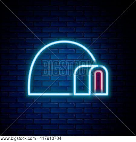 Glowing Neon Line Igloo Ice House Icon Isolated On Brick Wall Background. Snow Home, Eskimo Dome-sha