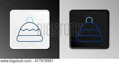 Line Beanie Hat Icon Isolated On Grey Background. Colorful Outline Concept. Vector