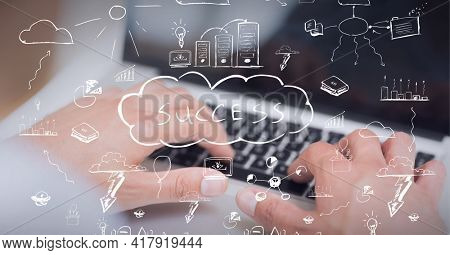 Composition of success world in cloud with digital icons over man typing on laptop keyboard. global technology and digital interface concept digitally generated image.