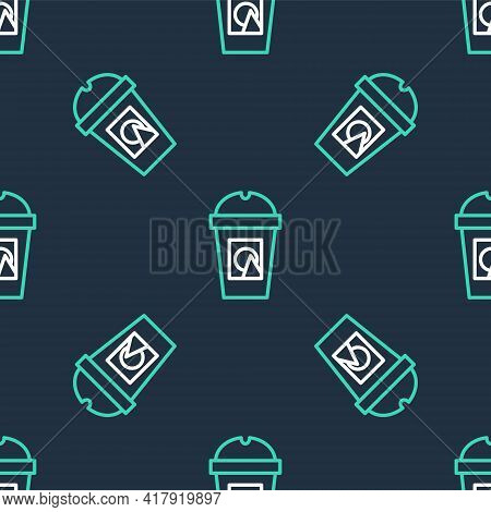 Line Coffee Cup To Go Icon Isolated Seamless Pattern On Black Background. Take Away Print. Vector