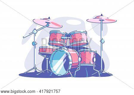 Professional Drum Set Vector Illustration. Equipment For