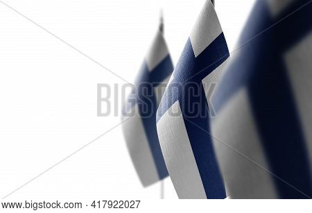 Small National Flags Of The Finland On A White Background