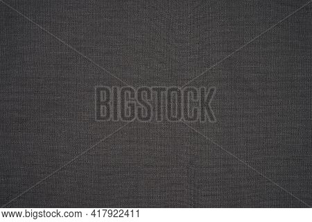Linen Cloth Black Texture Background. Linen Black Or Dark Grey Fabric Texture. Classic Dark Color Fo
